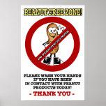 Small 12x18 Peanut Free Zone Poster