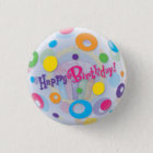 Small, 1¼ Inch Round Happy Birthday Button