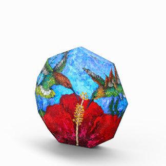 Small Acrylic Octagon Award With Hummingbirds Art