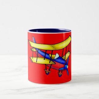Small airplane Two-Tone coffee mug
