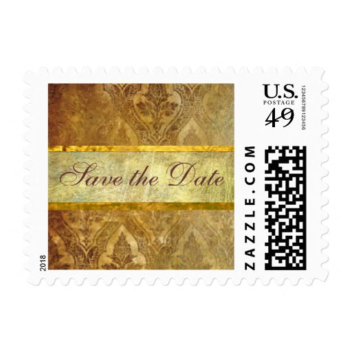 Small Antique Gold Save the Date Stamp