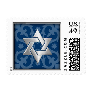 SMALL Any Color Background w/ Silver Star of David Postage Stamps