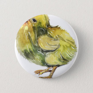 Small baby yellow chicken painted button