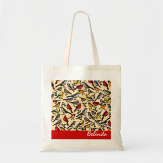 Small Backyard Birds on Gingham, Personalized Tote Bag