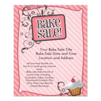 """Small Bake Sale Flyers, Sweet Pink Swirls 4.5"""" X 5.6"""" Flyer"""