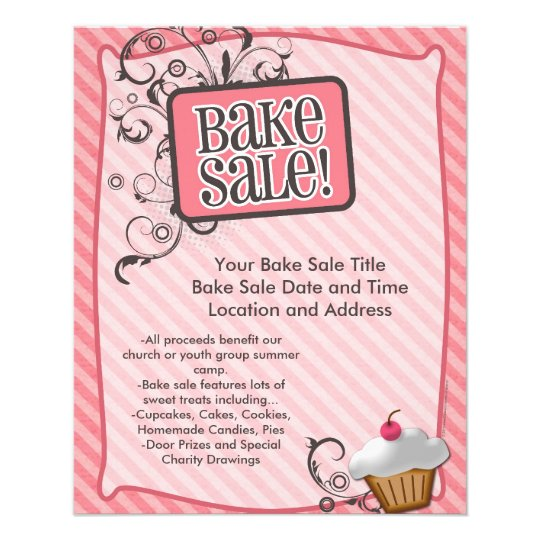 Small Bake Sale Flyers Sweet Pink Swirls Flyer  ZazzleCom