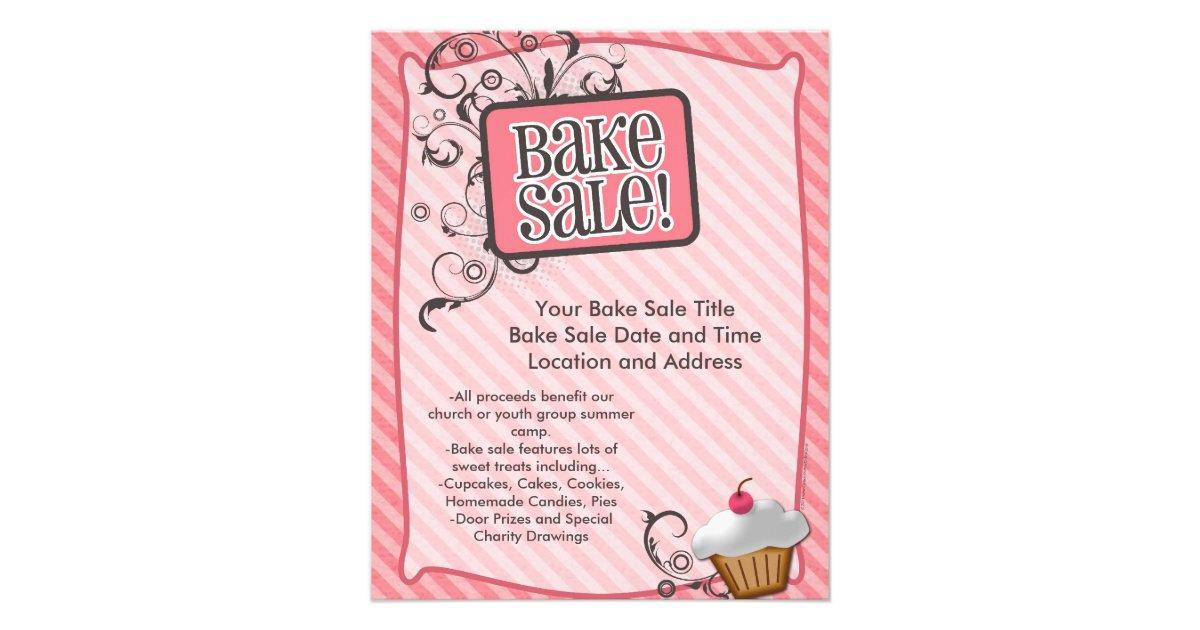 Small Bake Sale Flyers, Sweet Pink Swirls Flyer | Zazzle.com