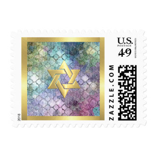 Small Bat Mitzvah Abstract Shimmery Pastel Pattern Postage