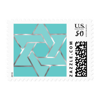 Small Bat Mitzvah Metallic Look Star of David Postage