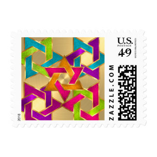 Small Bat Mitzvah Multicolored Star of David Gold Postage