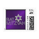 SMALL Bat Mitzvah Purple Sheen Silver Star Postage Stamps