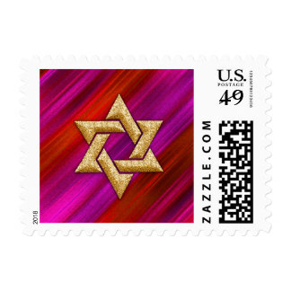 Small Bat Mitzvah Red and Pink Stripes Postage