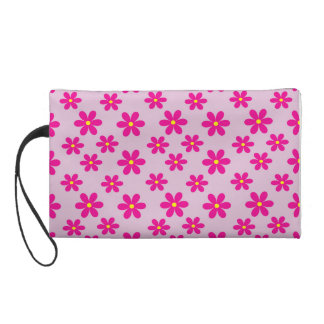 Small & big pink flowers wristlet