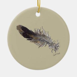 Small Bird Feather Ceramic Ornament