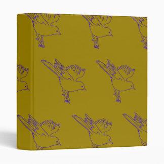 Small Bird green purple Vinyl Binders