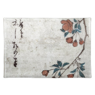 Small Bird on a Branch of Kaidozakura by Hiroshige Cloth Placemat