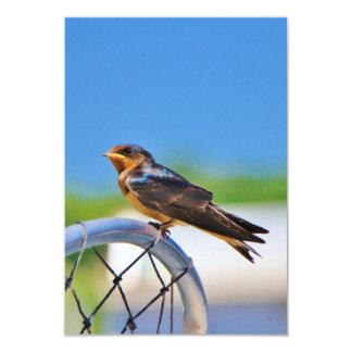 Small bird on a net 3.5x5 paper invitation card