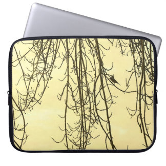 Small bird on bare tree branches laptop computer sleeve