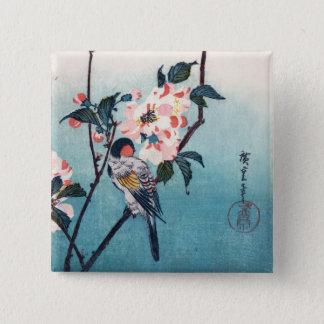 Small Bird On Sakura Branch Hiroshige Fine Art Button