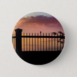 Small Bird Over Fence Backlight Sunset Scene Pinback Button