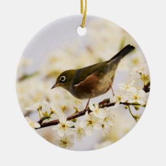 Small Bird Tree Spring Blossoms Nature Ceramic Ornament