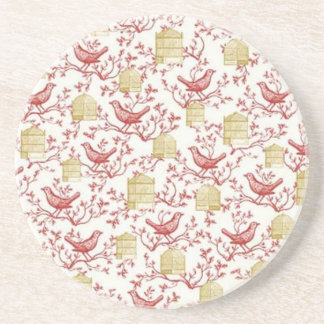 Small birds and Cages Drink Coaster