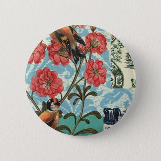 Small birds and flowers pinback button