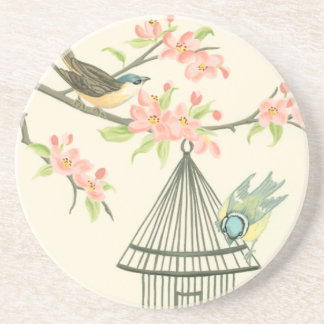 Small Birds Perched on a Branch and on a Birdcage Drink Coasters