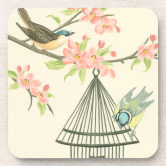 Small Birds Perched on a Branch and on a Birdcage Beverage Coasters
