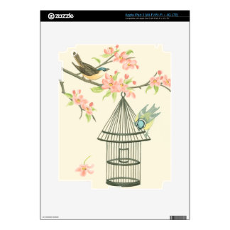 Small Birds Perched on a Branch and on a Birdcage Decal For iPad 3