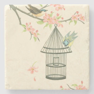 Small Birds Perched on a Branch and on a Birdcage Stone Coaster