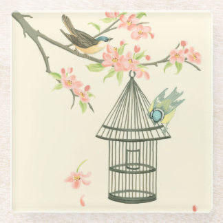 Small Birds Perched on a Branch and on a Birdcage Glass Coaster
