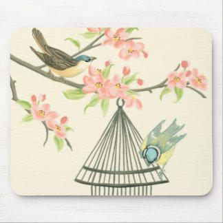 Small Birds Perched on a Branch and on a Birdcage Mouse Pad