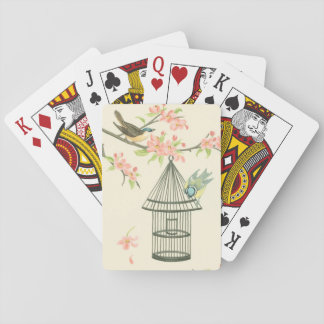 Small Birds Perched on a Branch and on a Birdcage Playing Cards