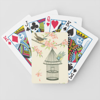 Small Birds Perched on a Branch and on a Birdcage Bicycle Playing Cards