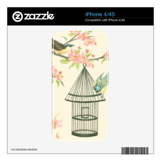 Small Birds Perched on a Branch and on a Birdcage Skin For The iPhone 4