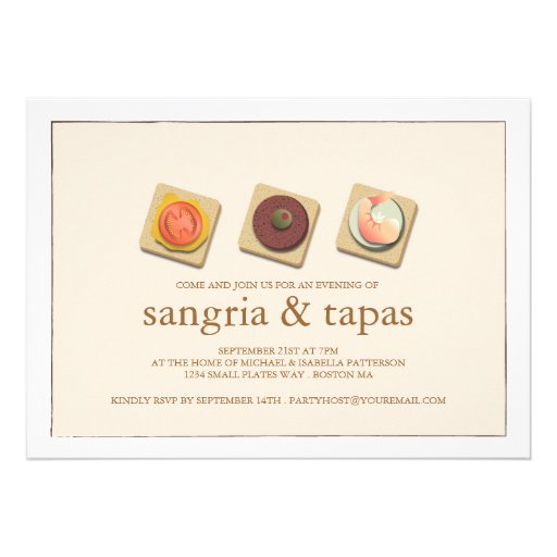 Small Bites Trio Sangria & Tapas Party Invitation