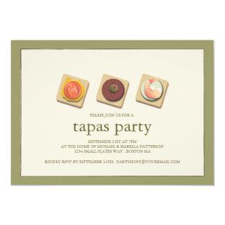 """Small Bites Trio Tapas Party Invitation 5"""" X 7"""" Invitation Card"""