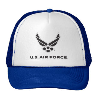 Small Black Air Force Logo with Outline Trucker Hat
