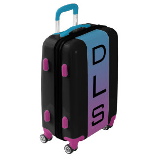 SMALL Black + Blue-Purple Ombre Monogram Carry On Luggage