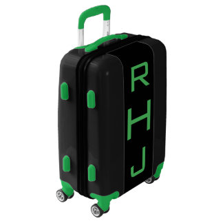 SMALL Black + Green Personalized Monogram Carry On Luggage