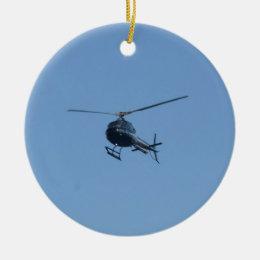 Small black helicopter. ceramic ornament