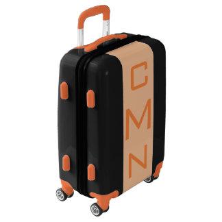 SMALL Black + Light Orange Monogram Carry On Bag Luggage