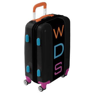 SMALL Black+Orange+Blue+Purple Monogram Carry On Luggage