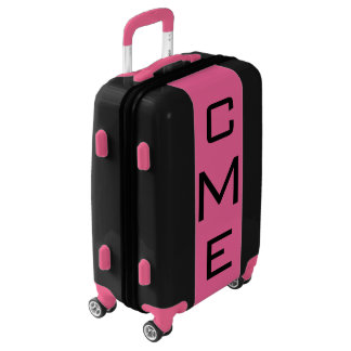 SMALL Black + Pink Monogrammed Carry On Luggage