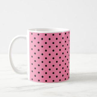 Small Black Polka Dots on hot pink background Coffee Mug