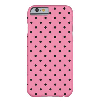 Small Black Polka Dots on hot pink Barely There iPhone 6 Case
