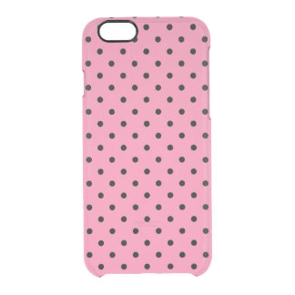 Small Black Polka Dots on hot pink Clear iPhone 6/6S Case
