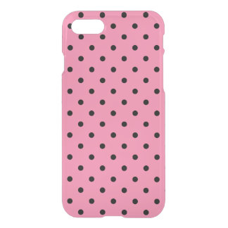 Small Black Polka Dots on hot pink iPhone 8/7 Case
