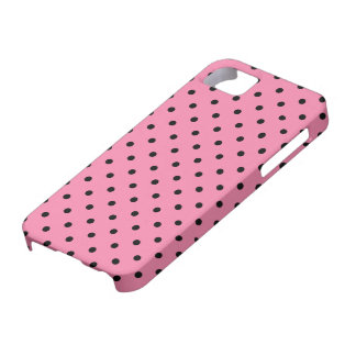Small Black Polka Dots on hot pink iPhone SE/5/5s Case